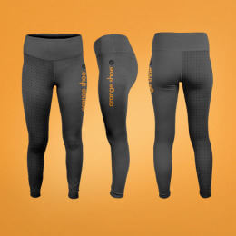 Orange Shoe Workout Leggings with trainer shoe design