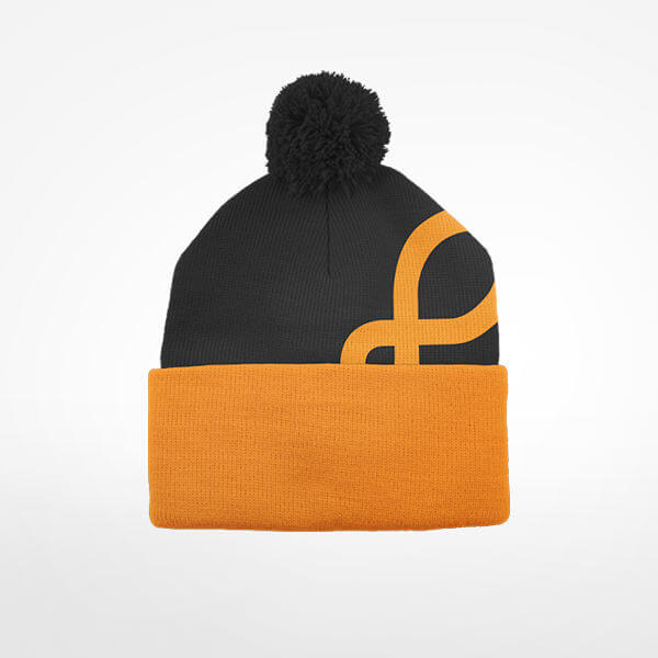 Orange Shoe Stocking Hat with trainer shoe design