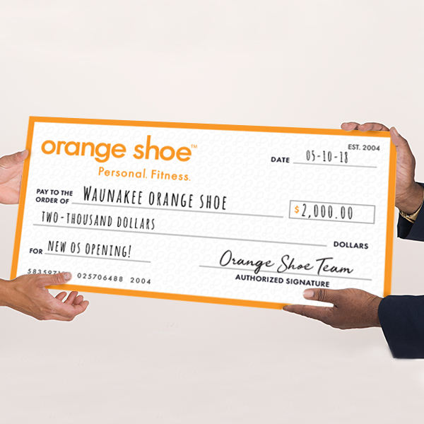 Orange Shoe Giant Check