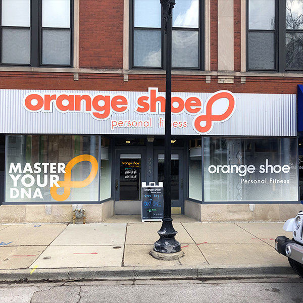 Orange Shoe Window Display