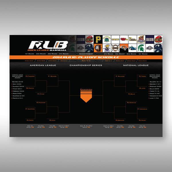 The Rock League Baseball Tournament Bracket Custom Graphic Design